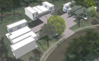 Conceptual renders of new housing. Concepts were prepared by John Senhauser Architects